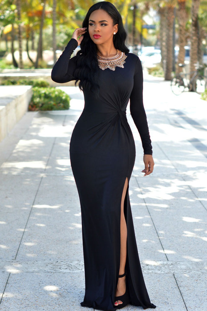 Black-Knotted-Front-Long-Sleeves-Gown-LC60765-2-2