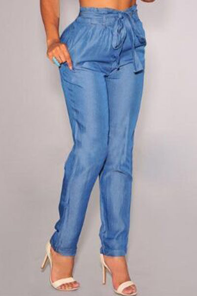 Blue-Denim-Belted-High-Waist-Harem-Pants-LC78629-5