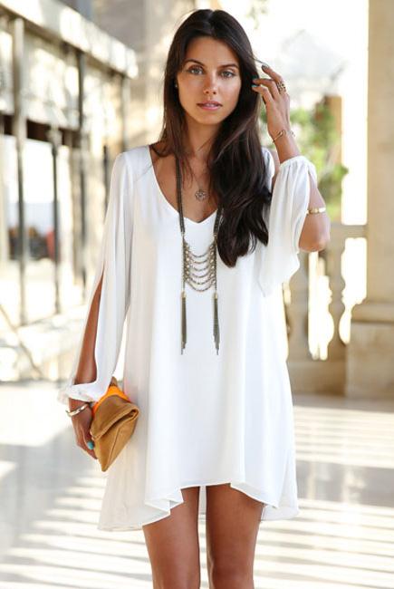 White-Chiffon-Leisure-Mini-Skater-Jersey-Dress-LC21647-1-2